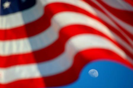 U.S. Flag & Moon by wyntuition