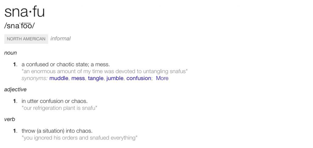 SNAFUdefined-SituationNormalAllFouledUp-googledefinitions=credit-postedMastheadBlog-MHProNews-com-